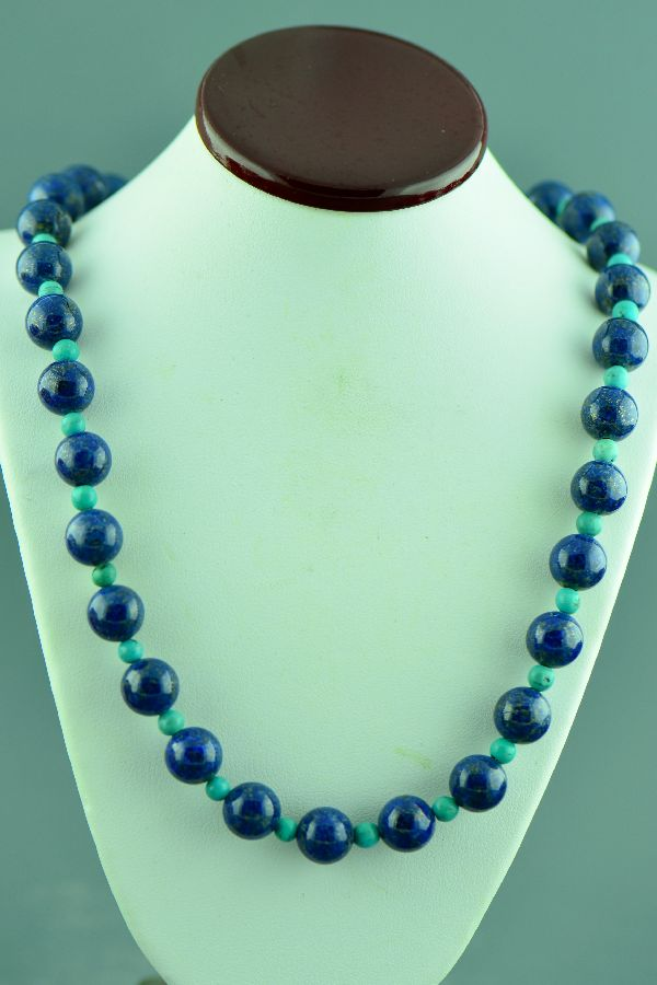 Navajo –Sterling Silver Lapis and Turquoise Necklace by Clara Whiterock