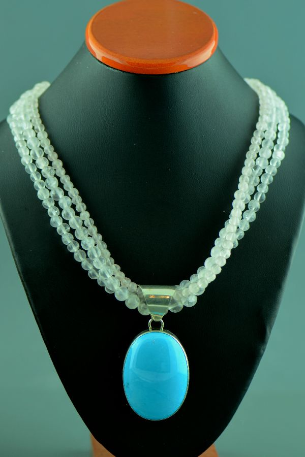 Navajo - Three Strand Quartz Necklace with Sterling Silver Sleeping Beauty Turquoise Pendant by C. Jones