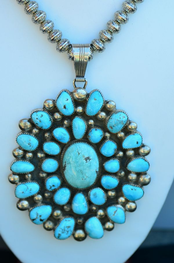 "Navajo – Exquisite Heavy Weight Sterling Silver High Grade Natural Morenci Turquoise Cluster Pendant with 30"" Bench Made Sterling Silver Beads by Loren T Begay (From a Private Collection)"
