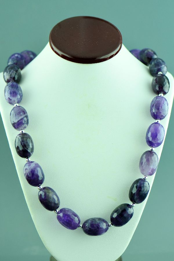 Navajo –Sterling Silver Brazilian Amethyst Necklace by Mary Begay