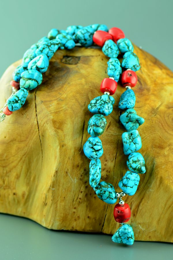 Navajo � Sterling Silver Kingman Turquoise and Bamboo Coral Necklace by 