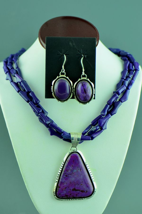 Navajo – Exquisite Sterling Silver Magenta Pendant and Earrings with Three Strand Dyed Purple Coral Necklace by Will Denetdale