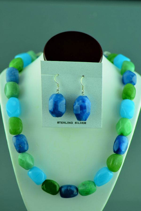 Navajo – Colorful Sterling Silver Agate Necklace and Earrings by 