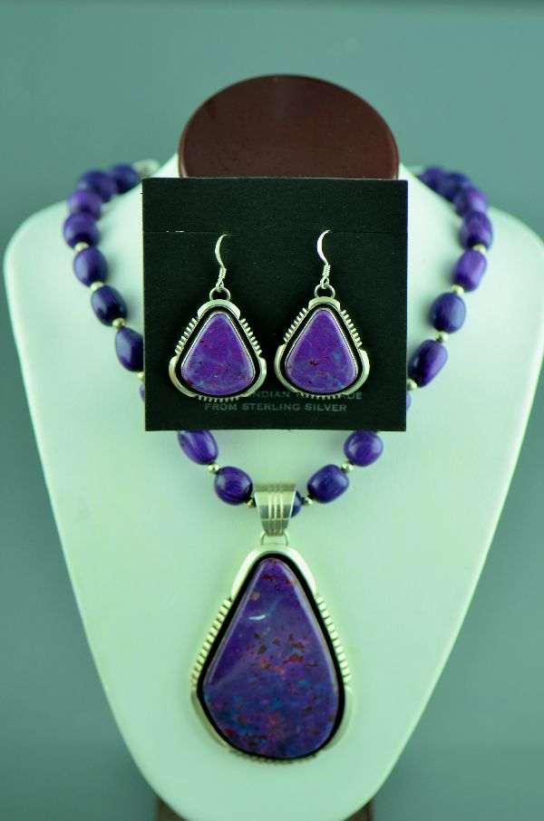 Navajo – Exquisite Sterling Silver Dyed Magenta Pendant, Necklace and Earrings by Will Denetdale