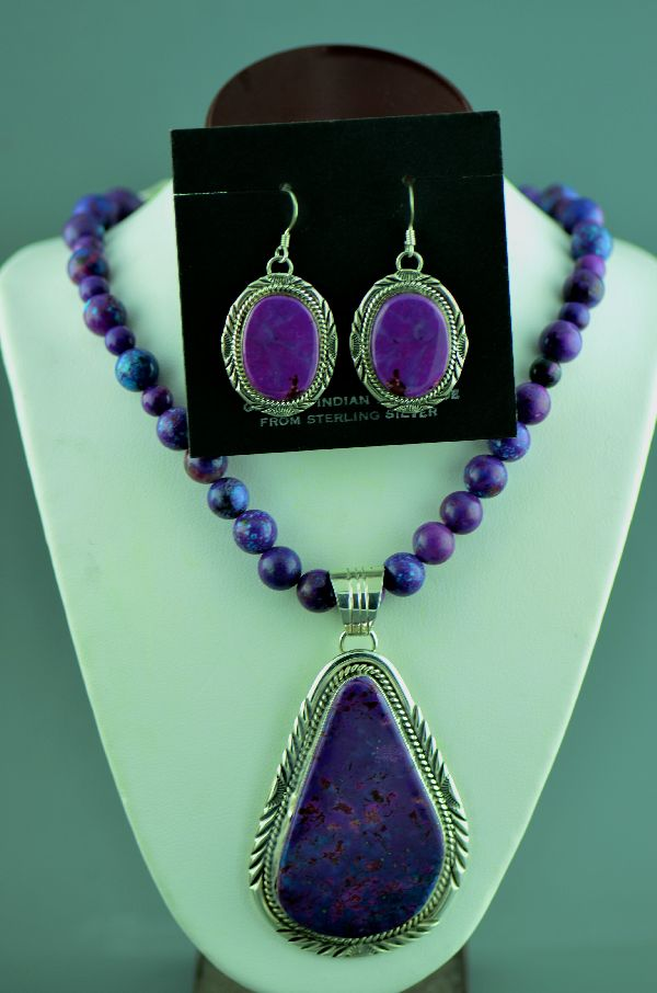 Exquisite Sterling Silver Magenta Pendant, Necklace and Earrings by Will Denetdale