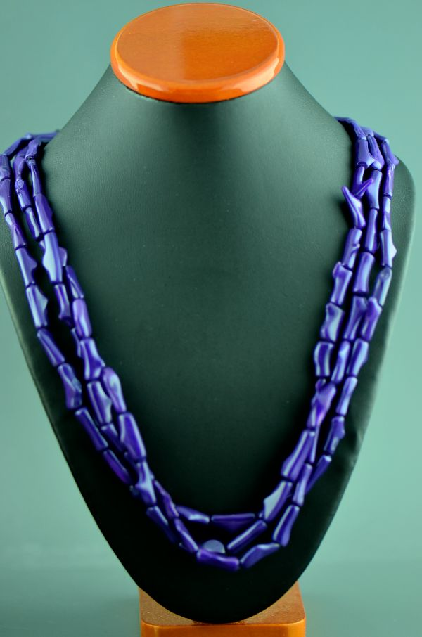Navajo – Three Strand Dyed Purple Coral Sterling Silver Necklace by Donna Chee