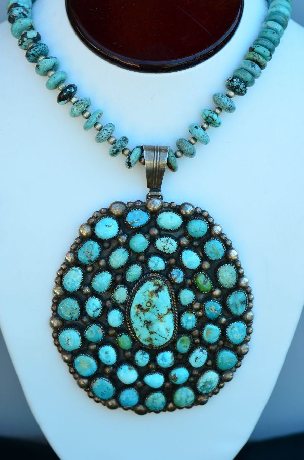 Navajo – Exquisite Heavy Weight Sterling Silver High Grade Natural Fox Turquoise Cluster Pendant, Necklace, Earring and Ring Set by Loren T Begay (From a Private Collection)