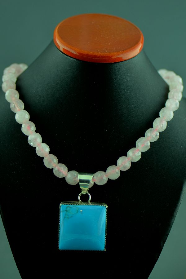 Navajo - Single Strand Rose Quartz Necklace with Sterling Silver Sleeping Beauty Turquoise Pendant by M. Bennett