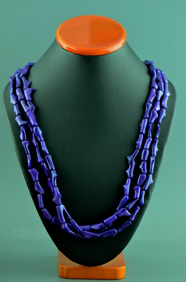 Navajo - Three Strand Dyed Purple Coral Sterling Silver Necklace by Donna Chee