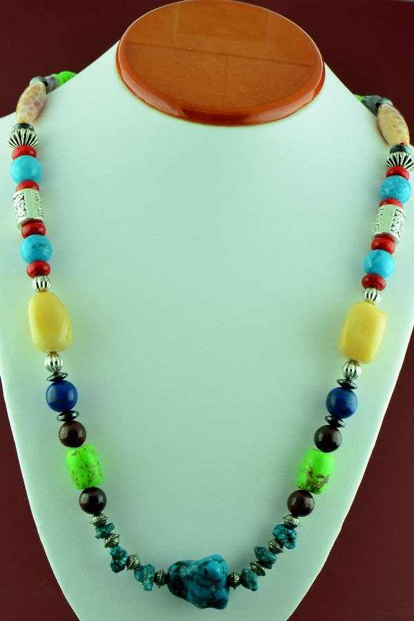 Navajo – Exquisite Sterling Silver Lapis, Apple Coral, Gaspiete, Turquoise, Charoite, Shell, and Agate Bead Necklace by Alvin Joe