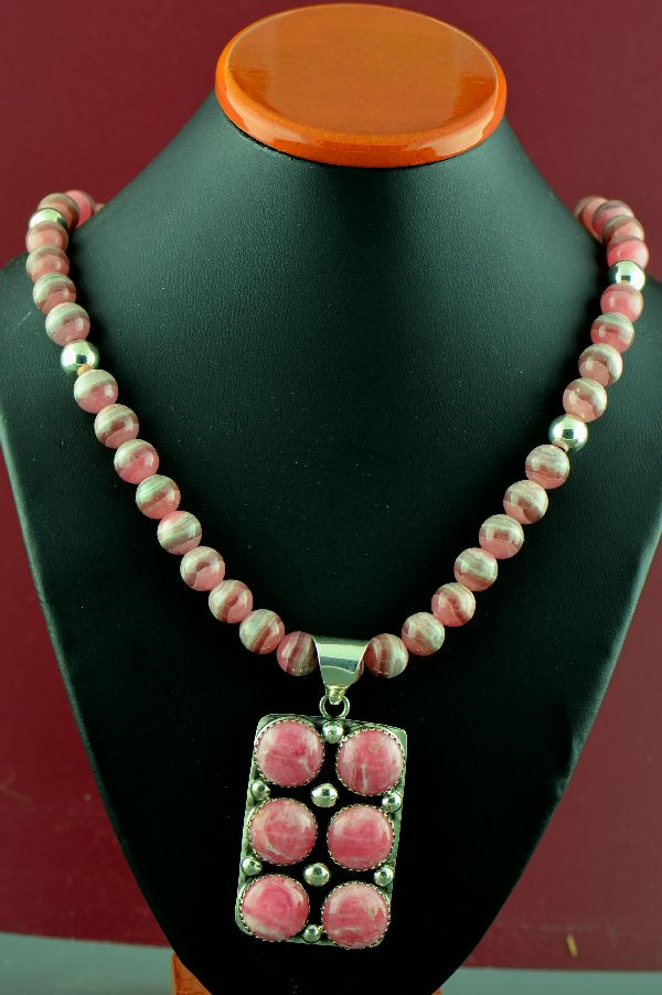 Navajo – Sterling Silver Rhodochrosite Necklace and Pendant by Mary Begay