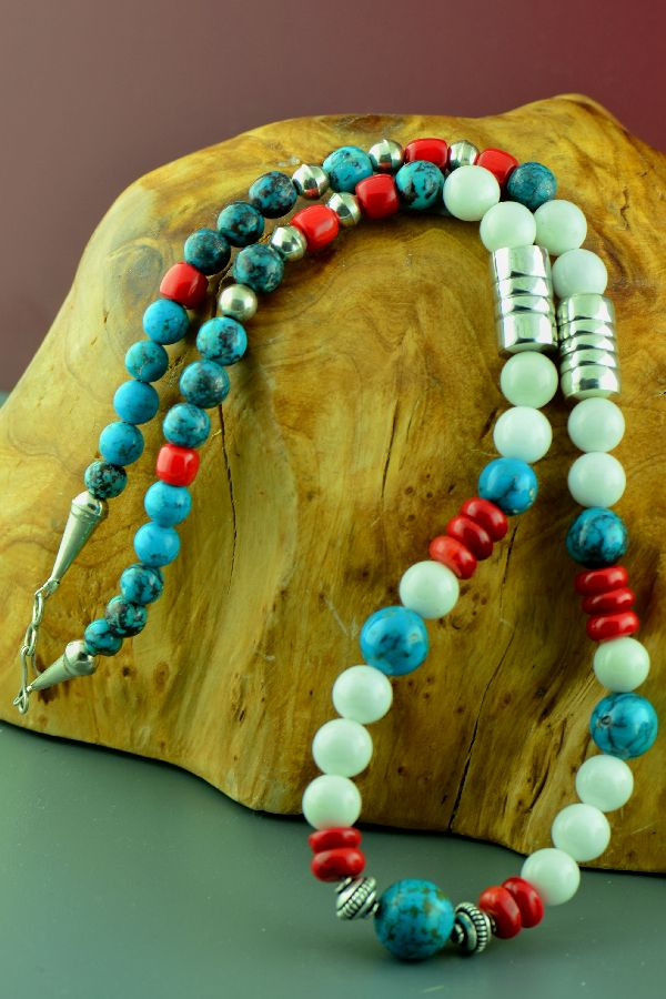 Navajo –Sterling Silver Spiderweb Turquoise, Apple Coral, and White Marble Necklace by Clara Whiterock
