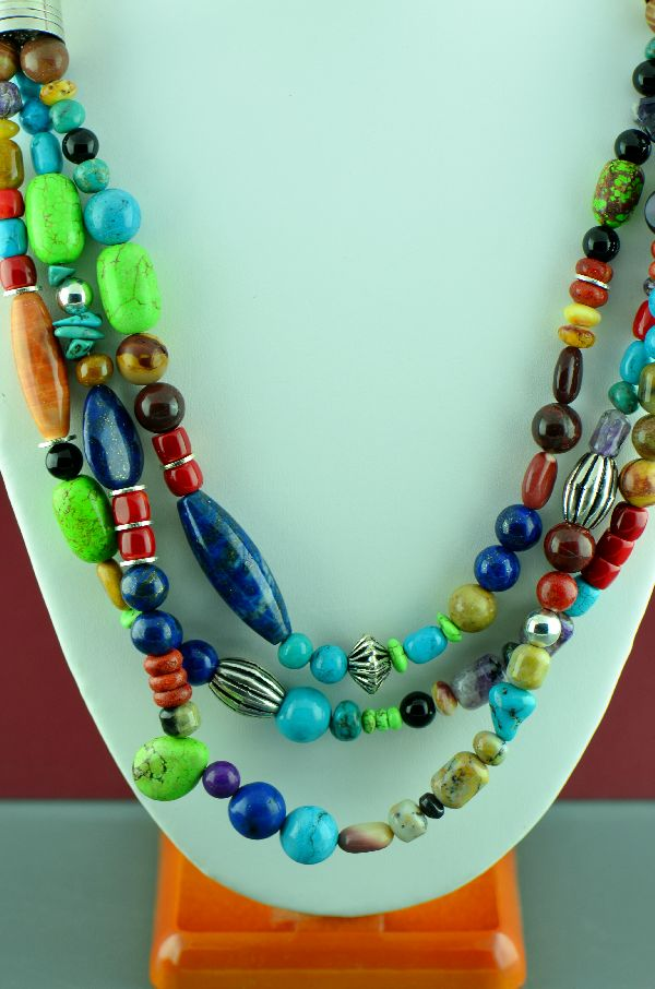 Navajo – Phenomenal Three Strand Sterling Silver Lapis, Apple Coral, Gaspiete, Turquoise, Black Onyx, Shell, Spiny Oyster Shell, Charoite and Agate Bead Necklace by Alvin Joe