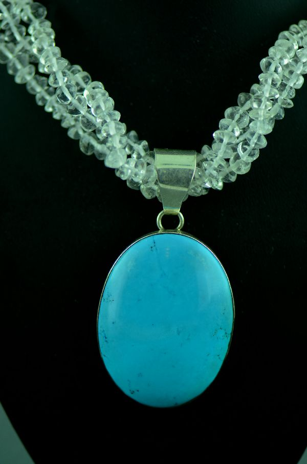 Navajo - Three Strand Quartz Necklace with Sterling Silver Sleeping Beauty Turquoise Pendant by M. Bennett