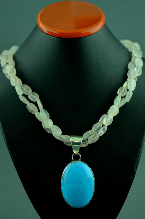 Navajo - Two Strand Rose Quartz Necklace with Sterling Silver Sleeping Beauty Turquoise Pendant by M. Bennett