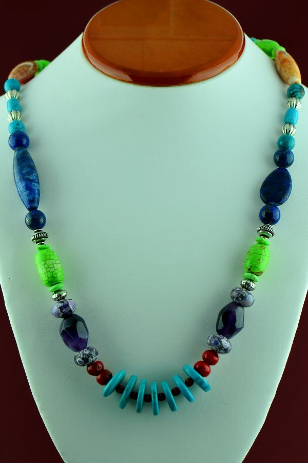 Navajo – Sterling Silver Lapis, Amethyst, Apple Coral, Gaspiete, Kingman Turquoise, Charoite, Shell, and Black Onyx Necklace by Alvin Joe