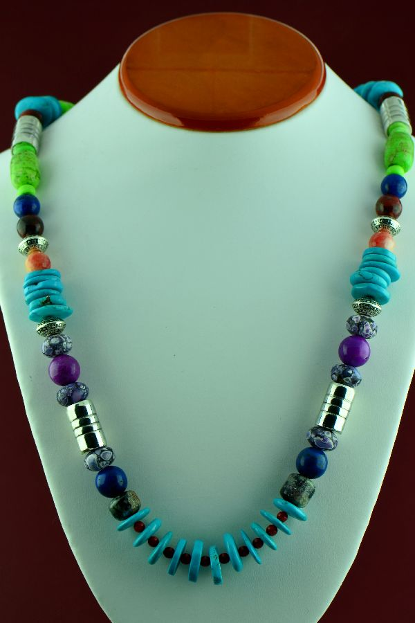 Navajo – Sterling Silver Lapis, Spiny Oyster Shell, Gaspiete, Kingman Turquoise, Charoite, Agate and Picasso Marble Necklace by Alvin Joe