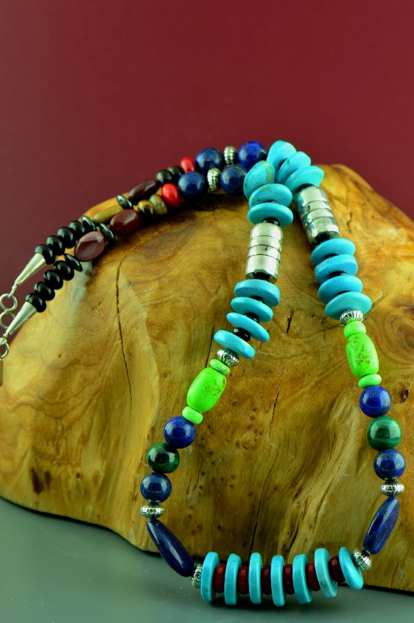 Navajo – Sterling Silver Kingman Turquoise, Lapis, Apple Coral, Jasper, Malachite, Tiger Eye, Gaspiete, Hematite, and Black Onyx  Necklace by Alvin Joe