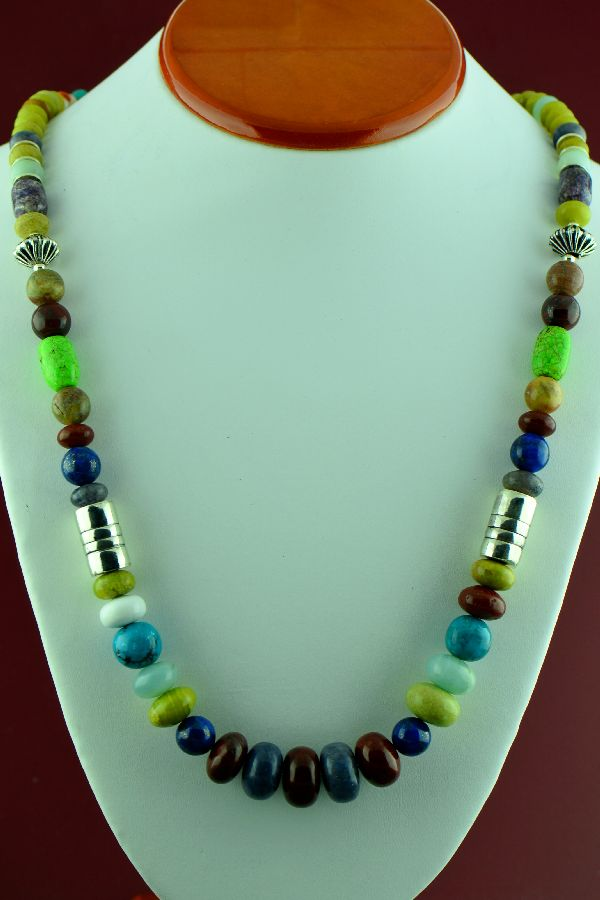 Navajo – Sterling Silver Spiny Oyster Shell, Lapis, Serpentine, Gaspiete, Kingman Turquoise, Charoite, Jasper, Agate and Mother of Pearl Necklace by Alvin Joe