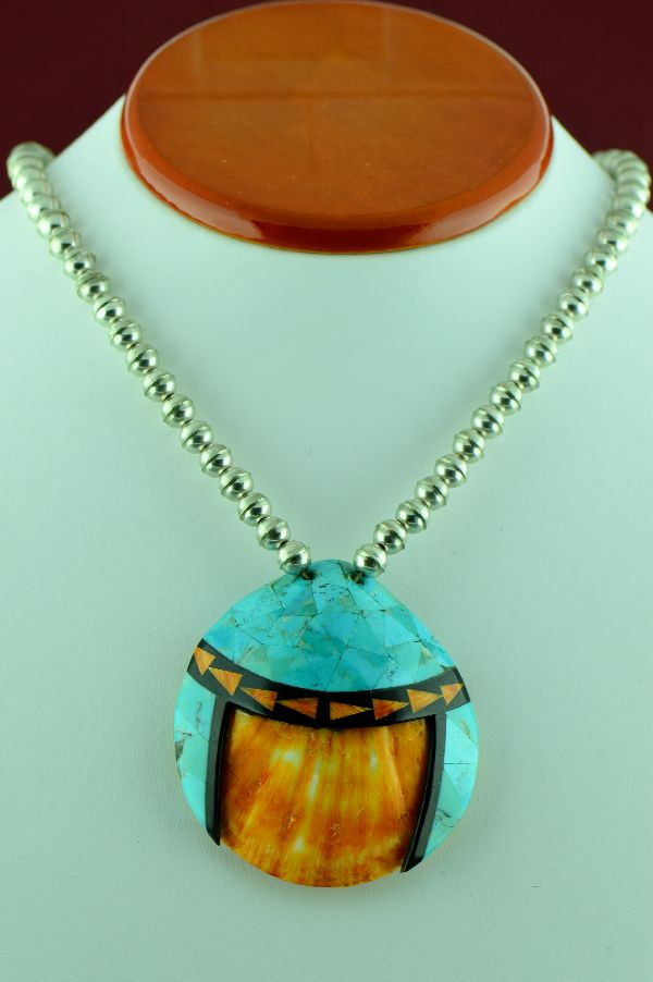 Santo Domingo - Sterling Silver Turquoise, Jet and Spiny Oyster Shell Pendant (Private Collection)