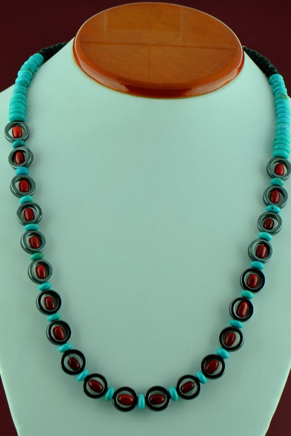 Navajo � Sterling Silver Sleeping Beauty Turquoise, Apple Coral and Hematite Necklace by Alex Begay