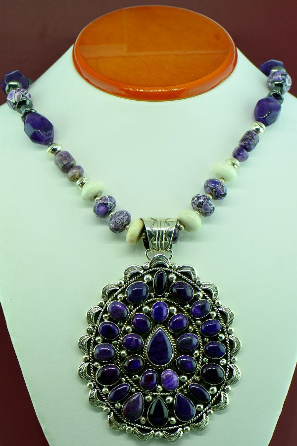 Navajo – Magnificent Sterling Silver High Grade Natural Sugilite Cluster Pendant with Amethyst, Marble, Charoite and Hematite Necklace by Will Denetdale and Alex Begay (From a Private Collection)