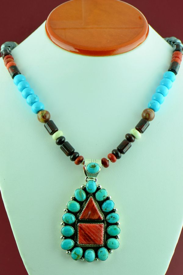 Navajo – Sterling Silver Turquoise, Jasper, Black Onyx, Spiny Oyster Shell, Hematite, Tiger Eye and Marble Necklace by Alex Begay with Sterling Silver Morenci Turquoise and Spiny Oyster Shell Pendant by Will Denetdale (Private Collection)