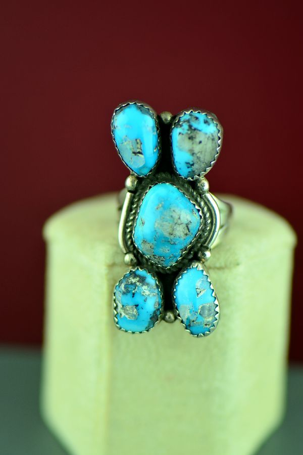 Navajo – Sterling Silver Three Stone Morenci Turquoise Ring by Alex Begay Size 8