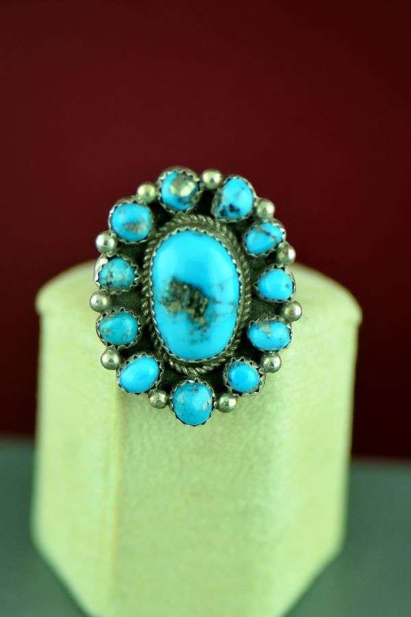 Navajo – Sterling Silver Twelve Stone Morenci Turquoise Ring by Alex Begay Size 6 1/2