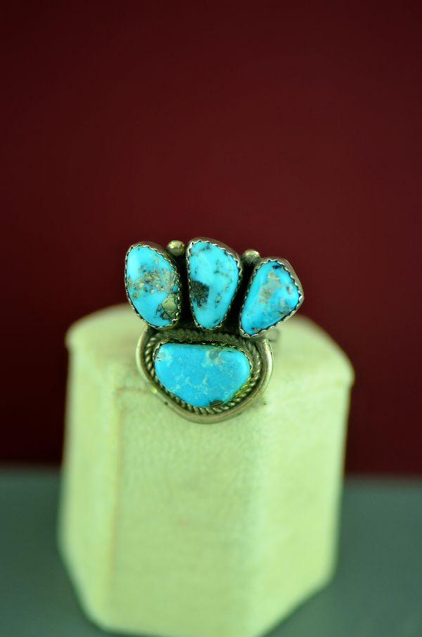 Navajo – Sterling Silver Four Stone Morenci Turquoise Ring by Alex Begay Size 6 3/4