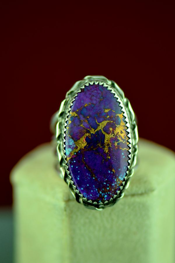 Navajo Sterling Silver Kingman Mohave Purple Turquoise Ring by Alvin Joe Size 9