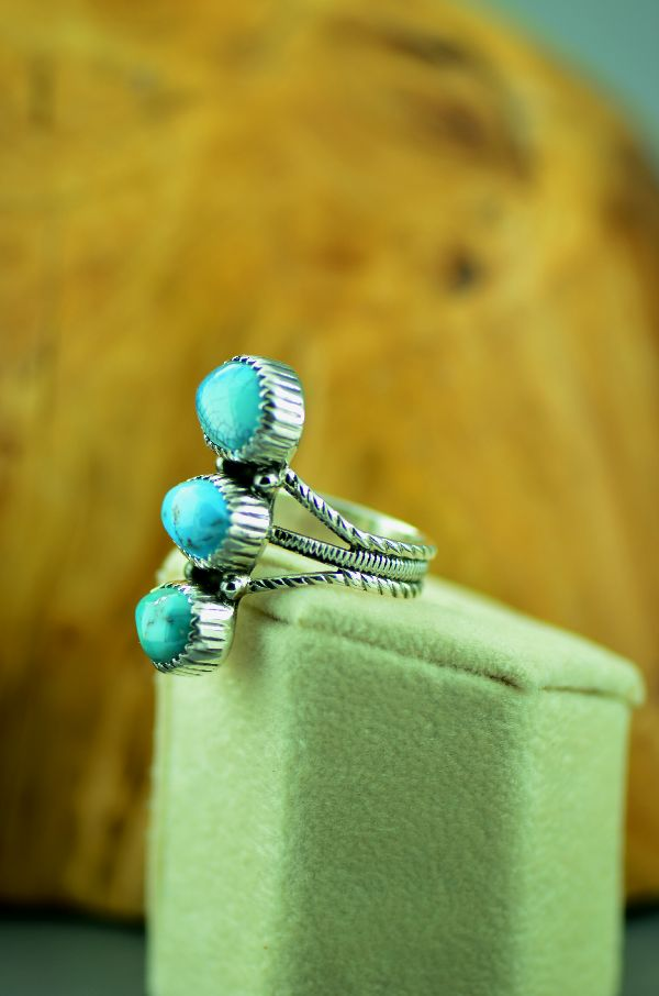 Navajo – Sterling Silver Three Stone Fox Turquoise Ring by Will Denetdale Size 8