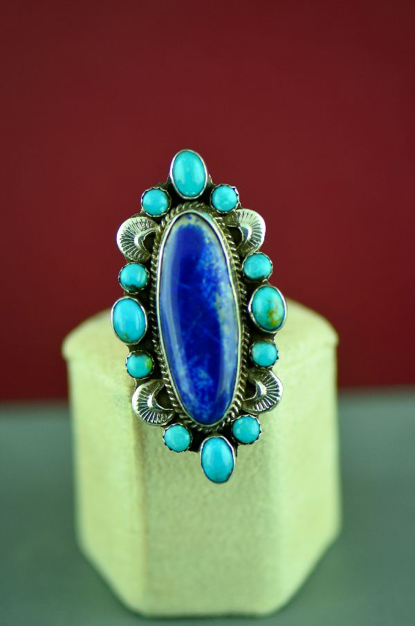 Navajo Turquoise and Lapis Cluster Ring
