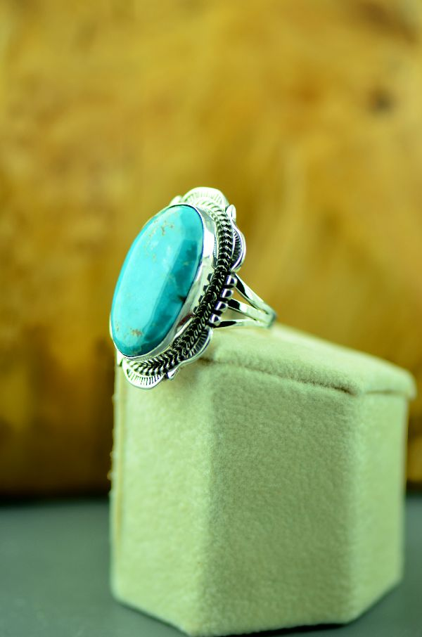 Navajo – Sterling Silver Fox Turquoise Ring by Will Denetdale Size 6 1/2