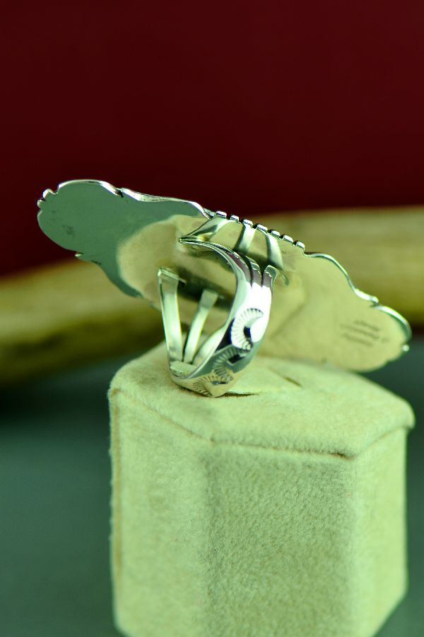 Navajo Sterling Silver White Buffalo Stone Ring by Will Denetdale Size 9