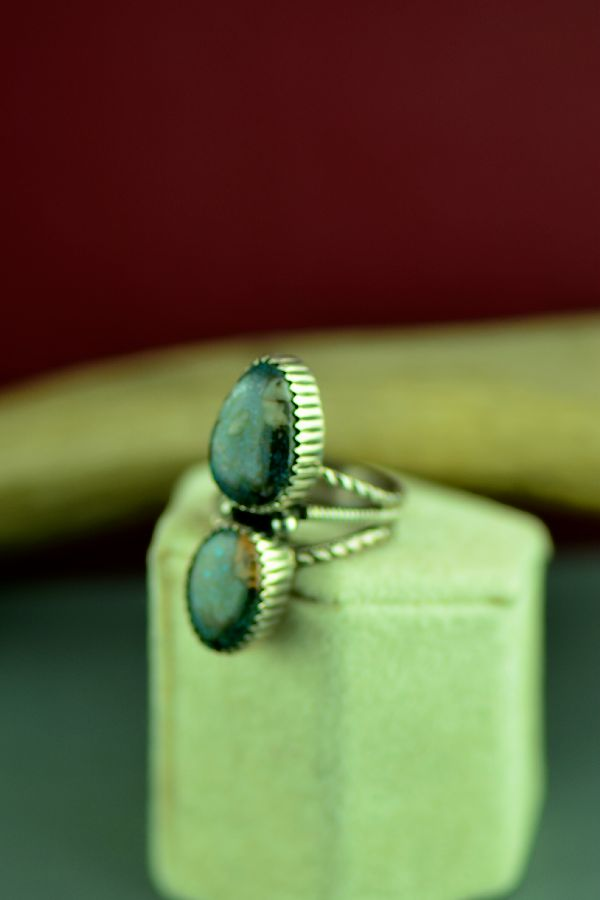 Native American Sterling Silver Turquoise Ring Size 6 1/2
