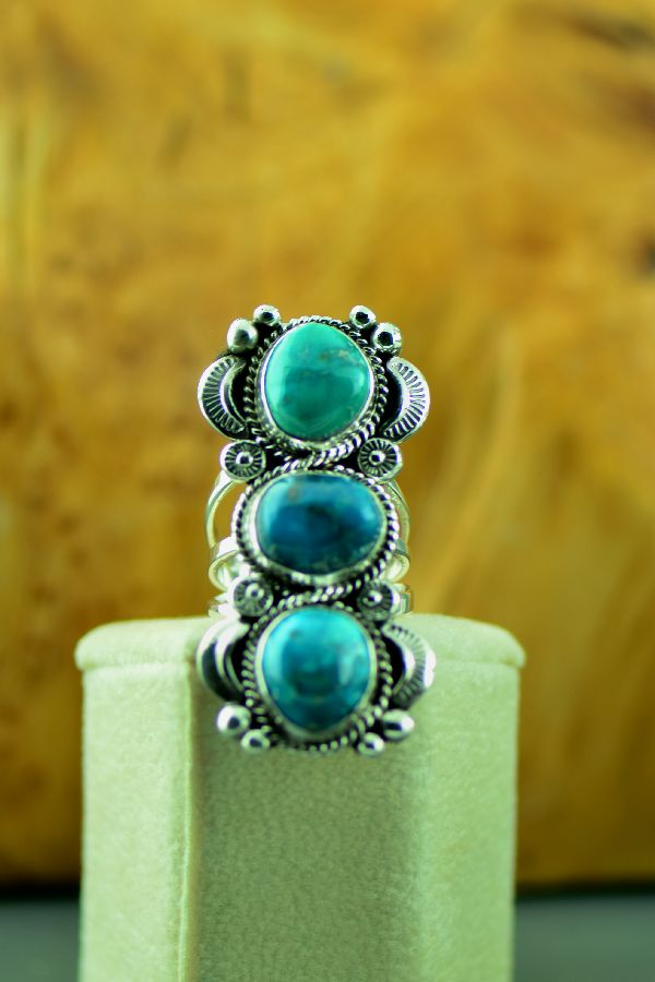 Navajo – Sterling Silver Three Stone Bisbee Turquoise Ring by Will Denetdale Size 6 3/4