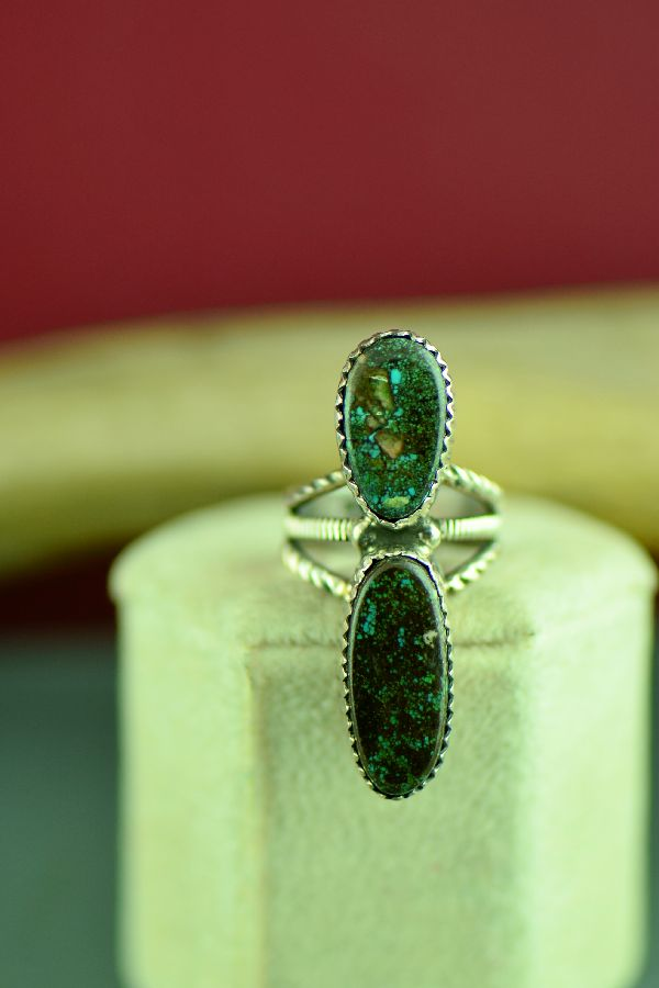Native American Sterling Silver Turquoise Ring Size 4