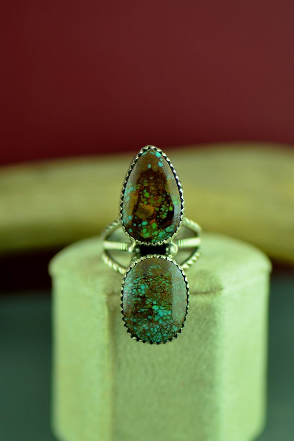 Navajo Sterling Silver Turquoise Ring Size 6