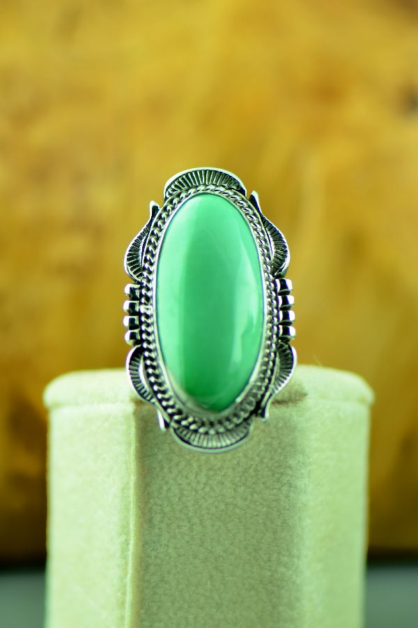 Navajo – Sterling Silver Fox Turquoise Ring by Will Denetdale Size 6