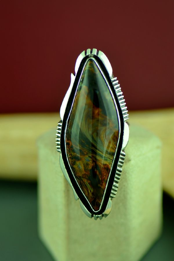 Navajo Sterling Silver African Pietersite Ring by Will Denetdale Size 8