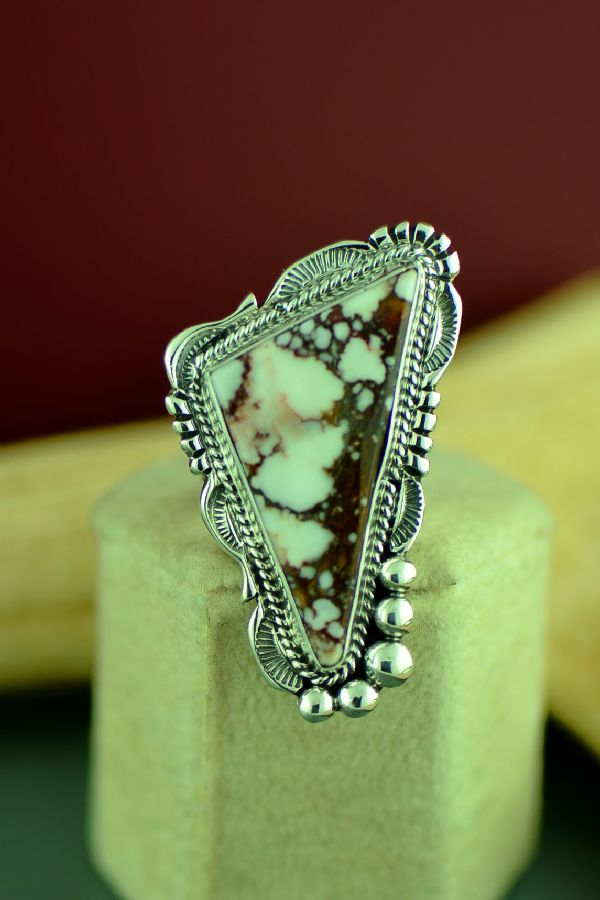 Navajo Sterling Silver Wild Horse Magnesite Ring by Will Denetdale Size 6 3/4