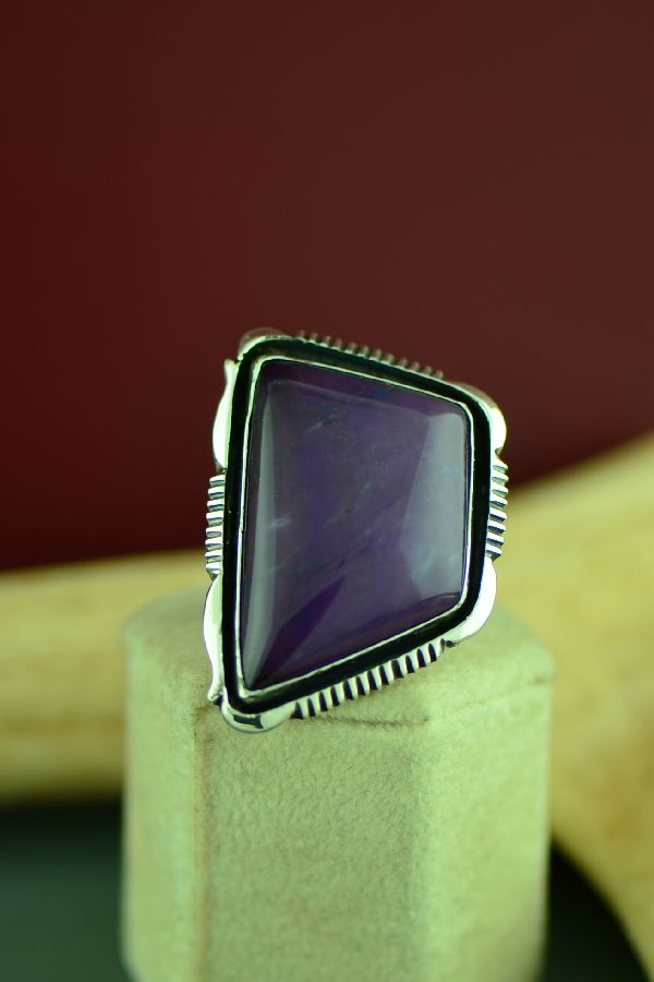 Navajo Exquisite Sterling Silver Sugilite Ring by Will Denetdale Size 8