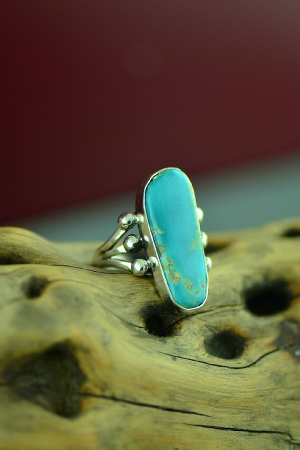 Authentic American Indian Royston Turquoise Ring by Will Denetdale Size 7 1/4