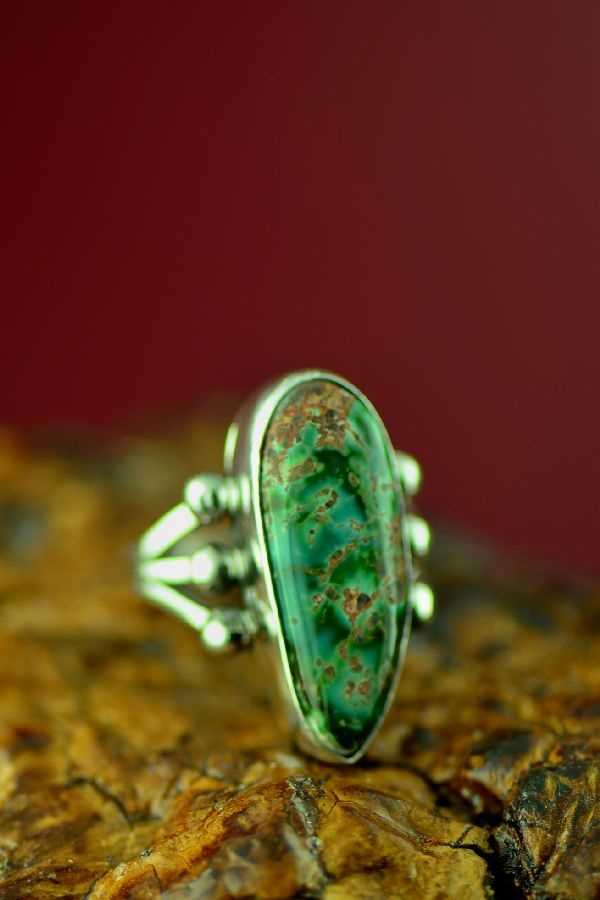 Navajo Royston Turquoise Ring by Will Denetdale Size 8 1/4