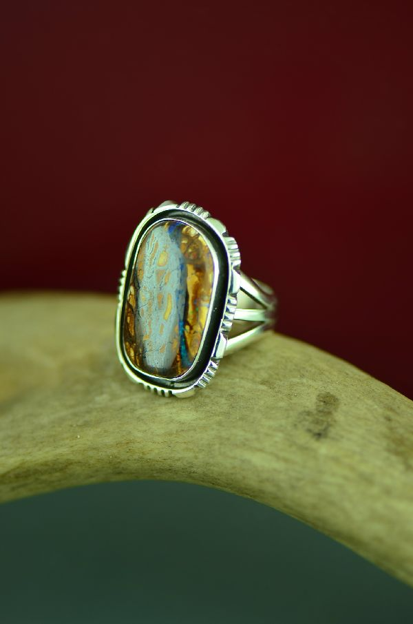Navajo Sterling Silver Australian Boulder Opal Ring by Will Denetdale Size 6 3/4