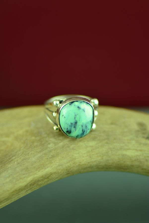 Navajo  Sterling Silver Apache Turquoise Ring by Will Denetdale Size 6 1/2