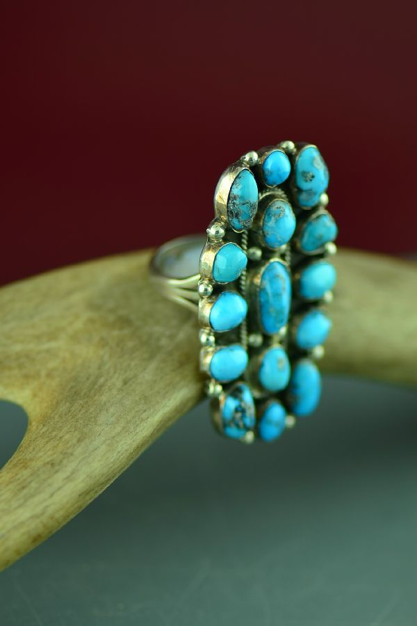 Navajo Sterling Silver 15 Stone Morenci Turquoise Cluster Ring by Will Denetdale Size 9 1/2