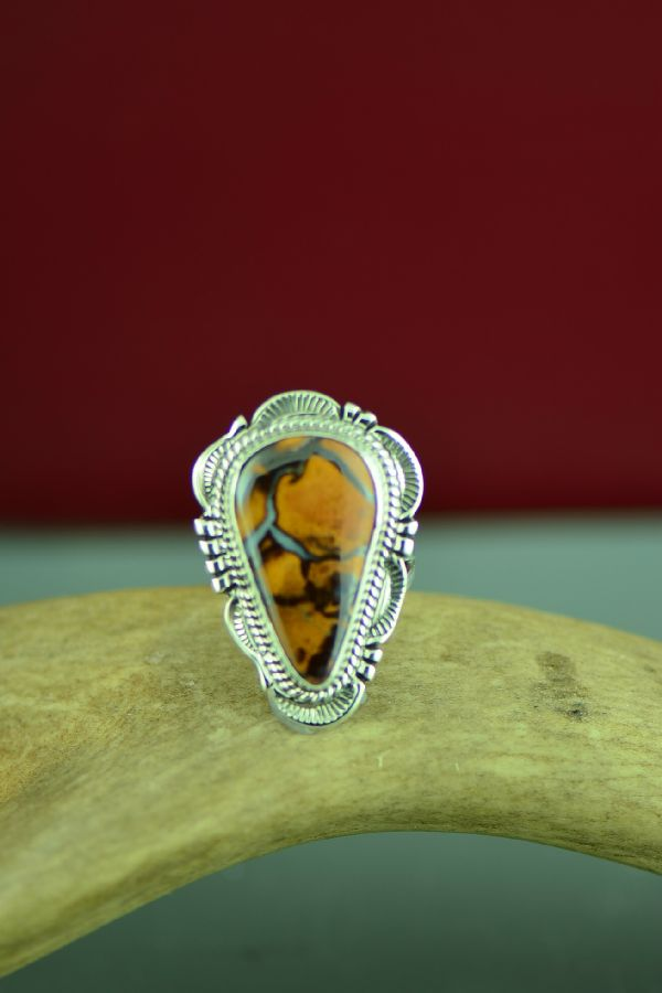 Navajo Sterling Silver Australian Boulder Opal Ring by Will Denetdale Size 6