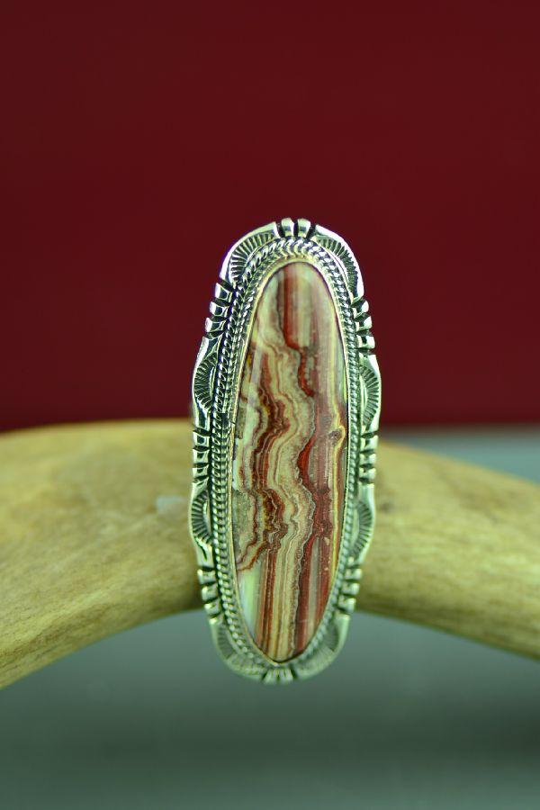 Navajo Sterling Silver Crazy Lace Agate Ring by Will Denetdale Size 8